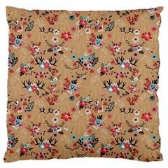 Deer Cerry Animals Flower Floral Leaf Fruit Brown Standard Flano Cushion Case (One Side)