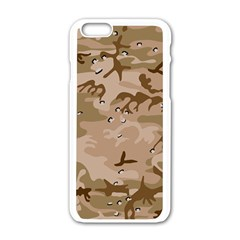 Desert Camo Gulf War Style Grey Brown Army Apple iPhone 6/6S White Enamel Case