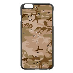 Desert Camo Gulf War Style Grey Brown Army Apple iPhone 6 Plus/6S Plus Black Enamel Case