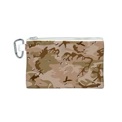 Desert Camo Gulf War Style Grey Brown Army Canvas Cosmetic Bag (S)