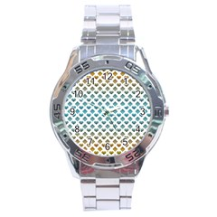 Diamond Heart Card Purple Valentine Love Blue Yellow Gold Stainless Steel Analogue Watch