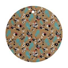 Deer Cerry Animals Flower Floral Leaf Fruit Brown Black Blue Ornament (round)