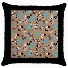 Deer Cerry Animals Flower Floral Leaf Fruit Brown Black Blue Throw Pillow Case (Black)