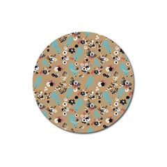 Deer Cerry Animals Flower Floral Leaf Fruit Brown Black Blue Magnet 3  (Round)