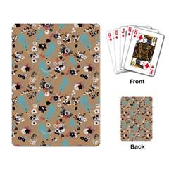 Deer Cerry Animals Flower Floral Leaf Fruit Brown Black Blue Playing Card