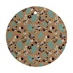 Deer Cerry Animals Flower Floral Leaf Fruit Brown Black Blue Round Ornament (Two Sides)