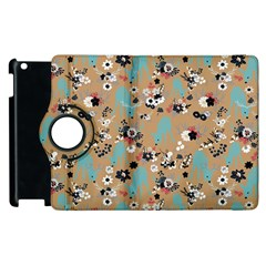 Deer Cerry Animals Flower Floral Leaf Fruit Brown Black Blue Apple iPad 2 Flip 360 Case