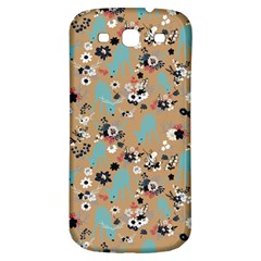 Deer Cerry Animals Flower Floral Leaf Fruit Brown Black Blue Samsung Galaxy S3 S III Classic Hardshell Back Case