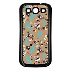Deer Cerry Animals Flower Floral Leaf Fruit Brown Black Blue Samsung Galaxy S3 Back Case (Black)