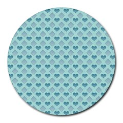 Diamond Heart Card Valentine Love Blue Round Mousepads