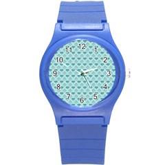 Diamond Heart Card Valentine Love Blue Round Plastic Sport Watch (S)