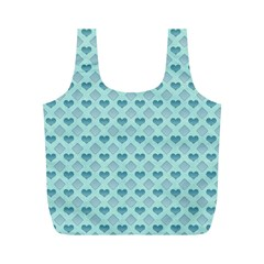 Diamond Heart Card Valentine Love Blue Full Print Recycle Bags (m)