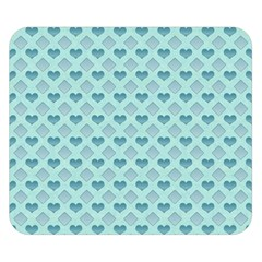 Diamond Heart Card Valentine Love Blue Double Sided Flano Blanket (small)