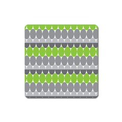 Egg Wave Chevron Green Grey Square Magnet