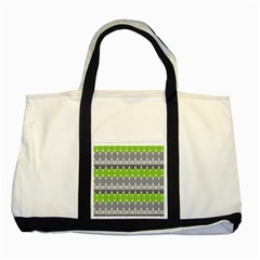 Egg Wave Chevron Green Grey Two Tone Tote Bag