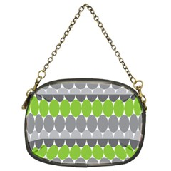 Egg Wave Chevron Green Grey Chain Purses (Two Sides)