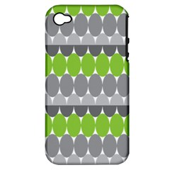 Egg Wave Chevron Green Grey Apple iPhone 4/4S Hardshell Case (PC+Silicone)