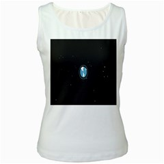 Earth Universe Natural Space Galaxy Women s White Tank Top