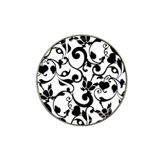 Floral Flower Leaf Black Hat Clip Ball Marker (10 pack)