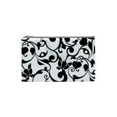 Floral Flower Leaf Black Cosmetic Bag (Small)