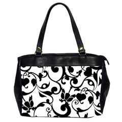 Floral Flower Leaf Black Office Handbags (2 Sides)