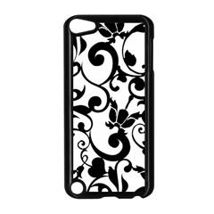 Floral Flower Leaf Black Apple iPod Touch 5 Case (Black)