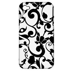 Floral Flower Leaf Black Apple iPhone 4/4S Hardshell Case (PC+Silicone)