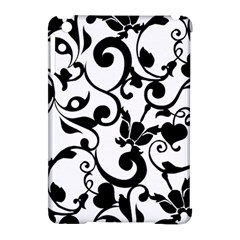 Floral Flower Leaf Black Apple iPad Mini Hardshell Case (Compatible with Smart Cover)
