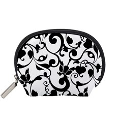 Floral Flower Leaf Black Accessory Pouches (Small)