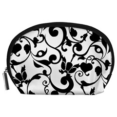 Floral Flower Leaf Black Accessory Pouches (Large)
