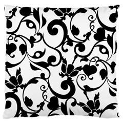 Floral Flower Leaf Black Standard Flano Cushion Case (One Side)