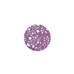 Floral Flower Leafpurple White 1  Mini Magnets