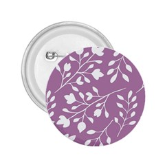 Floral Flower Leafpurple White 2.25  Buttons