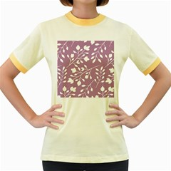 Floral Flower Leafpurple White Women s Fitted Ringer T Shirts