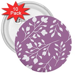 Floral Flower Leafpurple White 3  Buttons (10 pack)