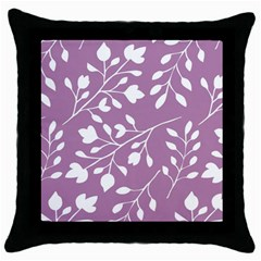 Floral Flower Leafpurple White Throw Pillow Case (Black)