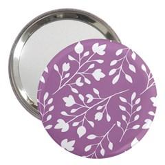 Floral Flower Leafpurple White 3  Handbag Mirrors
