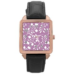 Floral Flower Leafpurple White Rose Gold Leather Watch