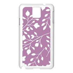 Floral Flower Leafpurple White Samsung Galaxy Note 3 N9005 Case (White)