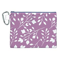 Floral Flower Leafpurple White Canvas Cosmetic Bag (xxl)