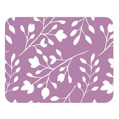 Floral Flower Leafpurple White Double Sided Flano Blanket (Large)