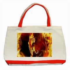Fire Tiger Lion Animals Wild Orange Yellow Classic Tote Bag (Red)
