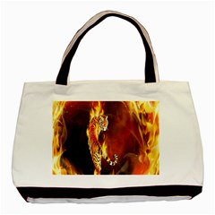 Fire Tiger Lion Animals Wild Orange Yellow Basic Tote Bag (two Sides)