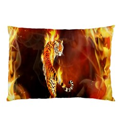 Fire Tiger Lion Animals Wild Orange Yellow Pillow Case (Two Sides)