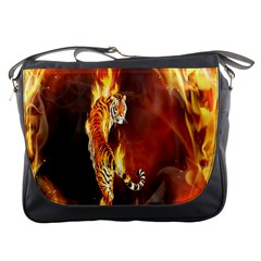 Fire Tiger Lion Animals Wild Orange Yellow Messenger Bags