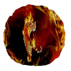 Fire Tiger Lion Animals Wild Orange Yellow Large 18  Premium Round Cushions