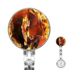 Fire Tiger Lion Animals Wild Orange Yellow Stainless Steel Nurses Watch