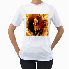 Fire Tiger Lion Animals Wild Orange Yellow Women s T-Shirt (White)