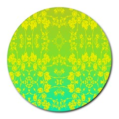 Floral Flower Leaf Yellow Blue Round Mousepads