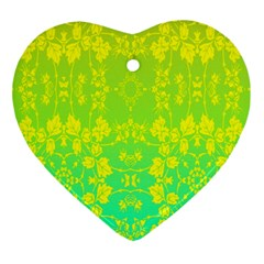 Floral Flower Leaf Yellow Blue Ornament (heart)